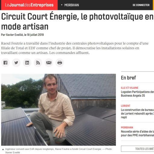 Energie-Renouvelable-Article Journal des Entreprises-Cicuit Court Energie