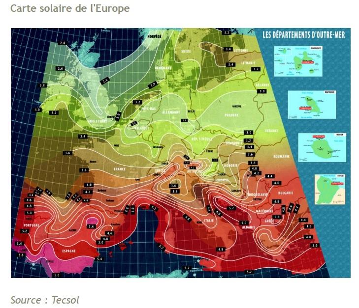 Carte ensoleillement Europe