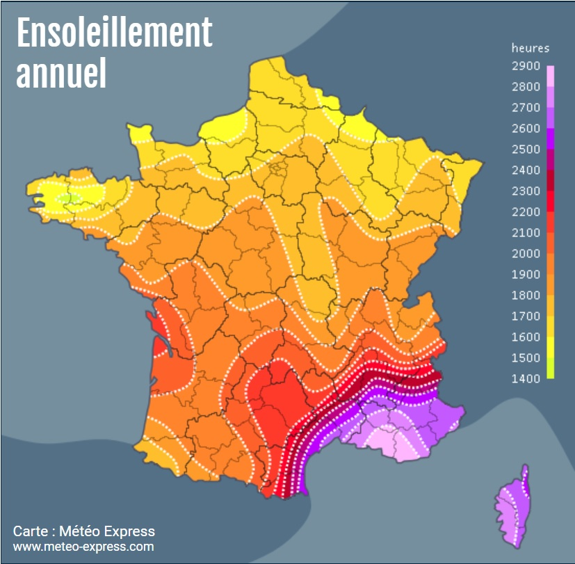 Carte ensoleillement France